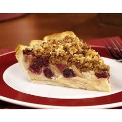 Apple Cranberry Streusel Custard Pie Recipe - This streusel-topped custard pie is filled with crisp apples and tart cranberries.