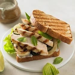 Grilled Chicken Mojito Sandwich Recipe - Lime, chilies and mint create the perfect chicken sandwich. Fire up the grill and enjoy!