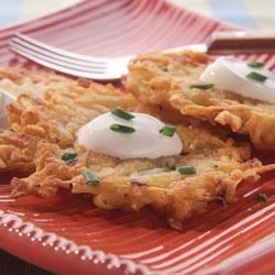 Classic Potato Latkes Recipe - Enjoy a serving of this indulgent side dish with a serving of cooked lean meat, poultry or fish.