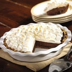 S'More Pie Please Recipe - For a twist on s'mores, try this fun chocolate and broiled marshmallow ice cream pie.