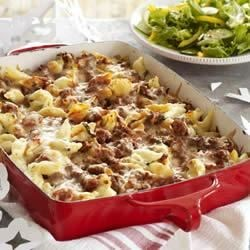 Make-Ahead Unstuffed Shells Recipe - You can assemble and refrigerate this cheesy, beefy pasta shell dish on Sunday night and, the next day, dinner's on the table in 45 minutes.