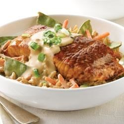 Creamy Vegetable Rice with Teriyaki Salmon