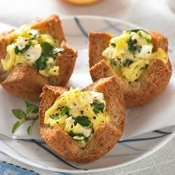 Whole Grain Florentine Egg Cups Recipe - Whole grain bread cups stuffed with eggs, spinach and feta; quick, easy and delicious!