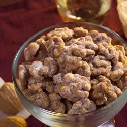 Brandied Candied Walnuts Recipe - These sweet candied walnuts with a hint of orange zest are wonderful as a snack or appetizer. Try them as a sophisticated addition to desserts and salads.