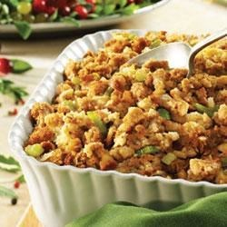 Moist and Savory Stuffing Recipe - Perfectly-seasoned Pepperidge Farm(R) Herb Seasoned Stuffing, celery and onion are combined with Swanson(R) Chicken Broth for a classic, moist stuffing dish.