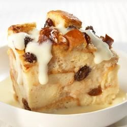 Cinnamon Raisin Bread Pudding with Vanilla Yogurt Sauce