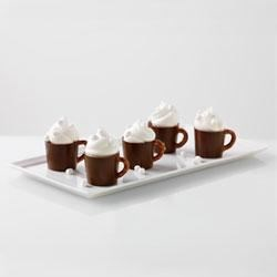 Hot Cocoa Pudding Mugs Recipe - These individual pudding shots look like hot chocolate, but are thick, cool, and creamy.
