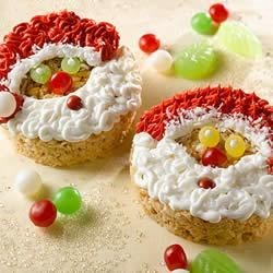 KELLOGG'S* RICE KRISPIES* Santa Claus Faces Recipe - Kids will love celebrating winter with these smiley treats.