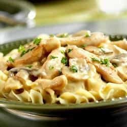 Easy Chicken Stroganoff Recipe - This one-skillet chicken dish features a creamy mushroom sauce and a whole lot of flavor.  It's comfort food that's ready to serve in just 45 minutes.