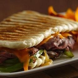 Philly Cheesesteak Panini Recipe - This is a fun, easy way to make panini, when you start with Pillsbury(R) refrigerated bread dough!