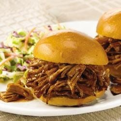 Slow Cookers BBQ Pulled Pork Recipe - Sweet and tangy describe this mild, family-style BBQ pork. Start with a boneless shoulder roast or substitute a boneless loin roast for a lower fat BBQ.