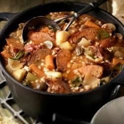 Braised Italian Sausage Stew  Recipe - Hearty barley makes this sausage stew a satisfying meal.