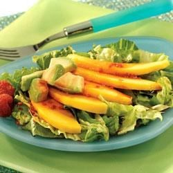 Mango and Avocado Salad with Acai Berry Vinaigrette Recipe - This fresh and nutritious salad of chopped greens, sliced avocado and mango is drizzled with a vibrant dressing made with V8 V-Fusion Açai Mixed Berry, olive oil, balsamic vinegar, garlic, Dijon-style mustard and pepper.