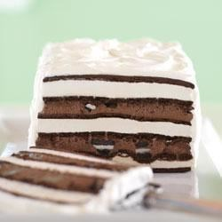 OREO and Fudge Ice Cream Cake Recipe - Looks hard. It's not. The secret? Ice cream sandwiches do most of the work. Delicious layers of Oreo Cookies and fudge help out, too.