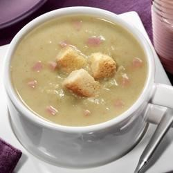 Creamy Pea Soup from National Dairy Council Recipe - This filling, hearty winter soup is blended with peas and diced ham to warm any chilly night and is made with nutrient-rich fat-free or low-fat lactose-free milk.