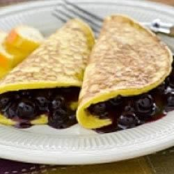 Blueberry Fold Over Pancakes Recipe - John and Annie Schaeken's family love these yummy pancakes! Annie usually makes a double batch using eggs from their farm in Glencoe.
