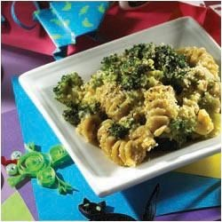 Crazy Curly Broccoli Bake (Kid-Friendly) Recipe - Ready in only 25 minutes, this creamy, kid-friendly side dish is a delicious way to add another veggie to your kids' day.  Pasta, bread crumbs and a creamy sauce blended with the perfect seasonings add flair to your basic broccoli side dish that will have your kids begging for more.  Nutritious, delicious and loads of fun to make ... and eat!