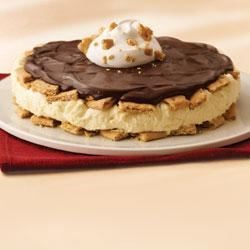 Boston Cream Cake by KRAFT Recipe - Layers of creamy filling and a honey graham crust are topped with melted chocolate and whipped topping.