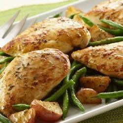 Garlic Chicken and Potatoes Recipe - Only four ingredients are needed to create this family favorite.