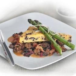 Oven-Roasted Polenta with Black Olives, Morel Mushroom Ragout and Grilled Spring Asparagus