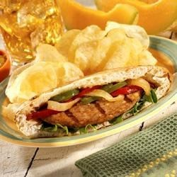 Grilled Sausage Patties with Peppers and Onions