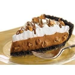 Candy Crunch Pudding Pie Recipe - An Oreo cookie crust and toffee candy make this chocolate pudding pie a special treat.