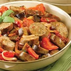 Sundried Tomato Chicken Sausage Ragu with Roasted Eggplant and Tomato Recipe - Sundried tomato chicken sausage adds extra flavor to this roasted vegetable dish.
