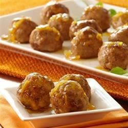 Orange Glazed Turkey Meatballs Recipe - Tender meatballs get bursts of sweetness from orange marmalade and a savory note from McCormick(R) Poultry Seasoning.