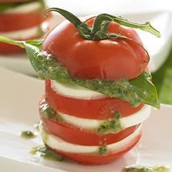 Caprese Salad with Soybean Walnut Pesto Vinaigrette Recipe - The neutral flavor of soybean oil allows the fresh ingredients of Caprese Salad drizzled with pesto to shine. This simple 'n' easy dish is a crowd pleaser!