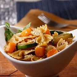 Farfalle with Zucchini, Butternut Squash and Pecorino Cheese Recipe - Hearty butternut squash and zucchini tossed with PLUS multigrain pasta and Pecorino cheese and fresh oregano make a quick, healthy, and delicious weeknight meal.