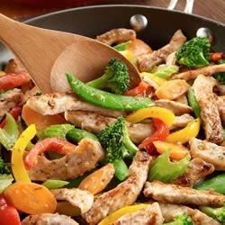 Pork and Veggie Saute Recipe - Sliced pork tenderloin and vegetables make a quick and flavorful skillet meal.