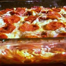 Baked Spaghetti Pizza Recipe - This recipe, adapted to use the traditional flavors of Classico(R) Pasta Sauce, was originally submitted by Allrecipes home cook Naomi Ritter.