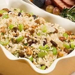 Honey Nut Dressing Recipe - An easy-to-make, dressing or stuffing recipe idea with whole-grain brown rice, crunchy walnuts, and sweet raisins.