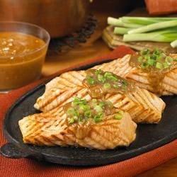 Grilled Salmon with Peanut Hoisin Sauce