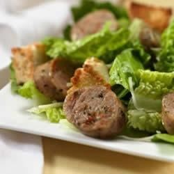 Roasted Garlic Chicken Sausage Caesar Salad Recipe - This fresh spin on Caesar salad includes al fresco Roasted Garlic Chicken Sausage.
