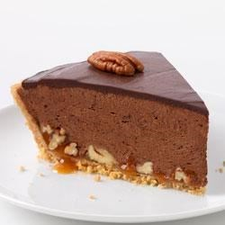 Chocolate-Glazed Turtle Pie Recipe - This rich and delicious pie layers caramel, chopped pecans and lots of creamy chocolate for a show-stopping dessert.