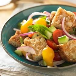 Whole Grain Panzanella Bread Salad Recipe - Seasonal freshness and natural whole grain goodness make this salad perfect for a picnic.