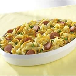 Baked Penne and Smoked Sausage Recipe - Hillshire Farm(R) Smoked Sausage is baked in a creamy sauce with pasta, French-fried onions, cheese, and peas in this easy one-dish meal.