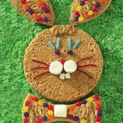 JIF(R) Peanut Butter Bunny Crisp Cake Recipe - Your children will enjoy decorating this bunny cake made with crisp rice cereal, marshmallows, and Jif(R) Creamy Peanut butter.