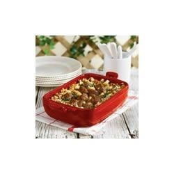 Sausage, Beef and Bean Casserole Recipe - In just about 45 minutes you can make this hearty casserole, hot and bubbling from the oven and featuring a flavorful combination of sausage, stuffing, ground beef, spinach and white beans in a delectable mushroom-blue cheese sauce.