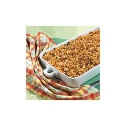 Vegetable Stuffing Bake Recipe - Zucchini, carrots and onion are added to a creamy sauce and herb-seasoned stuffing for a satisfying baked supper dish.