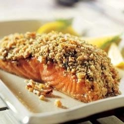 Crunchy Walnut Crusted Salmon Filets Recipe - A crunchy walnut crust rounds out the delightful flavors of lemon and dill for a simply elegant salmon meal you can whip up anytime.