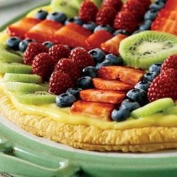 Fruit Pizza Puff Recipe - A flaky, golden Pepperidge Farm(R) Puff Pastry Crust is filled with creamy vanilla pudding and topped with assorted fresh fruit.