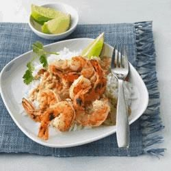 Grilled Lime Shrimp with Coconut Curry Sauce