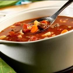 Savory Vegetable Beef Soup Recipe - When you start with Swanson(R) Beef Broth, you can ladle up flavorful homemade beef and vegetable soup in just 30 minutes.