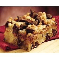 Chocolate Chip Toffee Bars Recipe - These rich cookie bars are filled with nuts, chocolate chips, and crunchy toffee bits.