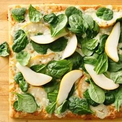 Pear Gorgonzola Pizza Recipe - With sweet pear and creamy cheese, this delicious pizza recipe is ready in 30 minutes.