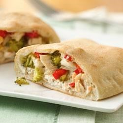 Chicken and Veggie Hand Pies Recipe - Chicken and fresh vegetables together with cream cheese make this healthy sandwich one that everyone will love.