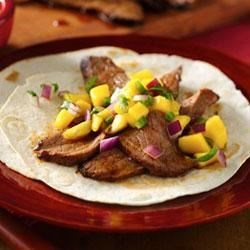 Mango Salsa Steak Fajitas Recipe - Try these delicious steak tacos with vibrant mango salsa for a real treat!