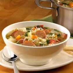 Johnsonville(R) Chipotle Monterey Jack Cheese Chicken Sausage Mexican Market Soup Recipe - This vegetable soup gets a spicy kick with the addition of sliced chipotle chicken sausage and green salsa.